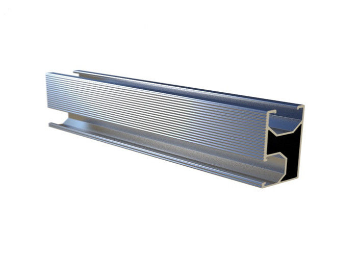 10-12um Aluminum Slotted Rail Extruded Roof Mounting Silver Anodizing 6005-T5